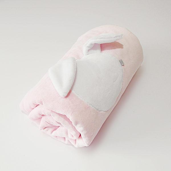 Rabbit Blanket – różowy z białym