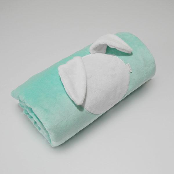 Rabbit Blanket – miętowy z białym