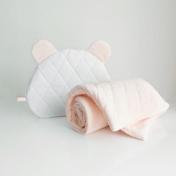 Velvet pikowany z poduszką Miś – peach roses