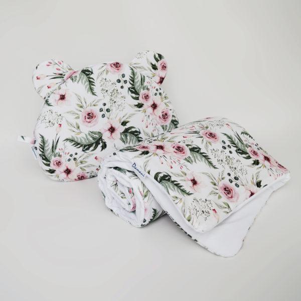 Zestaw Wild bloom – kocyk + poduszka Miś