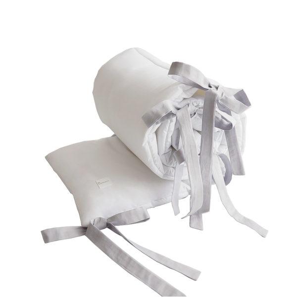 Ochraniacz Simply – biały z szarymi trokami